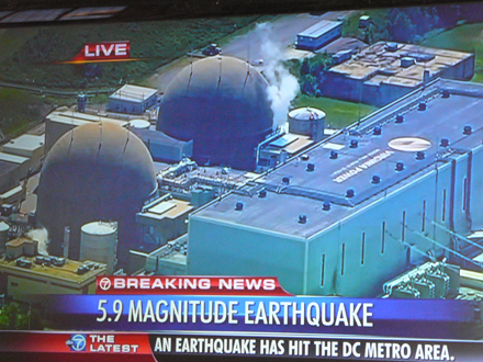 TV 7 DC shows photo of North Anna Nuclear Power Plant after emergency diesel generators kicked in following automatic shutdown of the nuclear reactors after earthquake.